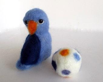 Blue needle felt art bird doll parakeet budgirigar polkadot ball soft creation.
