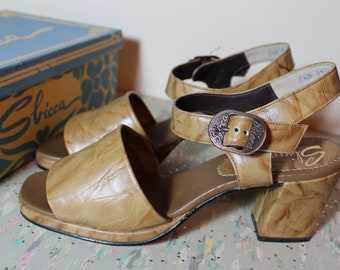 Vintage Leather Sbicca Sandals 1970's Size 8 1/2 Like New