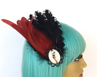 Black And Red Feather Fascinator, Nagorie Feathers, OOAK Fascinator, Black Feather Hair Clip, 1920s Fascinator, Jazz Age Hair Clip