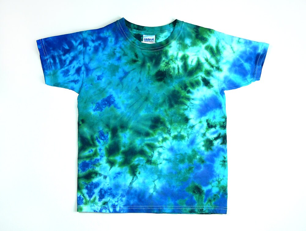 Tie dye shirt youth t shirt ocean design size xsmall for Customized tie dye shirts