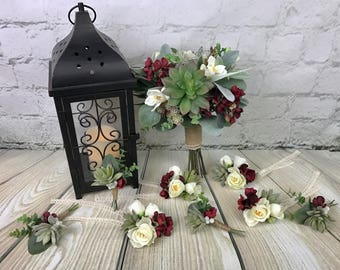 Wedding Bouquet Package, Bridal Bouquet, Succulent Bouquet, Burgundy Red Bouquet, Greenery Bouquet, Silk Bouquet, Corsage, Boutonniere