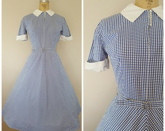 NEW! Vintage 1940s 1950s Cotton Dress / Blue and White Checks / Small