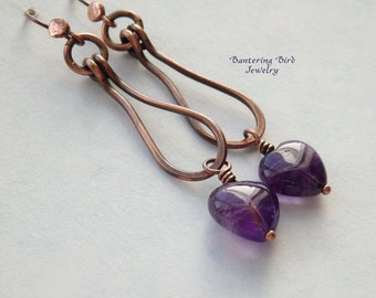 Unusual Amethyst Heart Earrings, Copper Hoops, Purple Gemstone, February Birthstone, Handcrafted Boho Jewelry