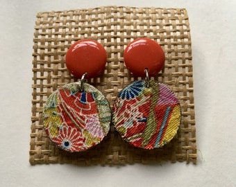 60s Inspired Red Round Drop Earrings Ethical Handmade Japanese Dangle
