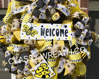 WOW ! Beautiful Easter Festive Very Large bumble Bee Wreath with coordinating Bows  ( One Of A Kind )