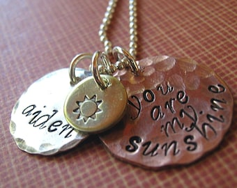 My Sunshine personalized handstamped mothers necklace