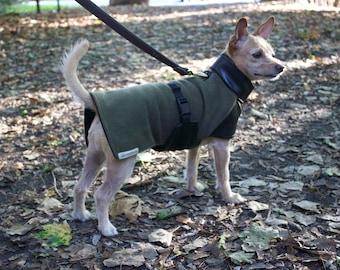 Custom Dog Fleece Coat- Dog Jacket- Fleece/Faux Leather Dog Coat- Dog Winter Coat- Dog Military Jacket