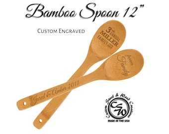 Engraved Bamboo Spoon | Wooden Spoon Personalized | Cooking Party Favor | Wedding Shower Favor | Chef Cooking Spoon | Customer Insensitive