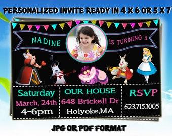 Alice in Wonderland Invitation, Alice in Wonderland Ticket Invitation,PrintableInvitation,Tea Party Invitation,Alice in Wonderland Birthday