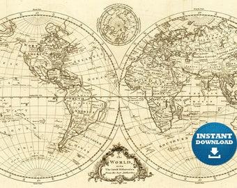 Digital Old World Map Printable Download. Vintage World Map. PRINTABLE Map. Large World Map. High Resolution World Map. Poster.USA.Australia