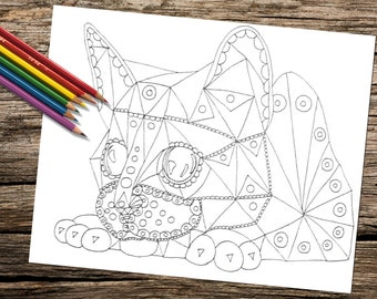 Printable coloring page, Adult Coloring Page, Instant download coloring, Kitten, Cat, coloring pages, adult coloring, download, abstract art