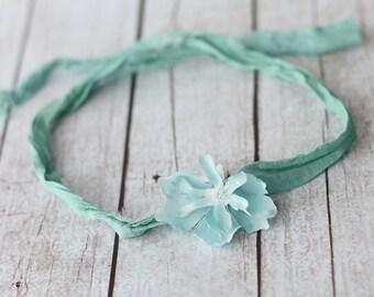 Tieback Headband, Blue Tieback, Blue Headband, Blue Halo Headband, Flower Tieback, Flower Headband, Newborn Headband