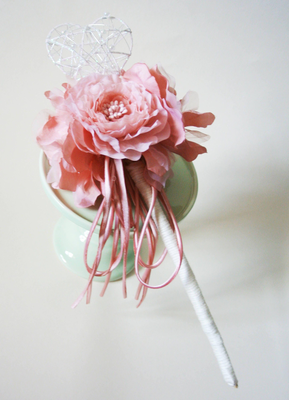 Flower Fairy Wand Flower Girl Wand Ooak Rose Pink Flower