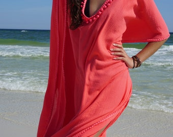 Beach cover ups, Short coverup with Pom poms, swimsuite coverup, gauze cotton coverup, resort wear, must have for any beach vacation