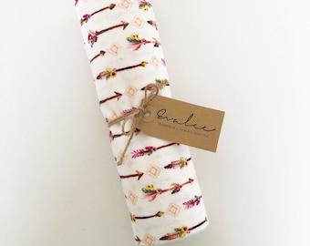 Swaddle Blanket / Pink Arrow / Woodland Blanket / Extra Large / Soft Flannel / Boho / FREE SHIPPING in USA