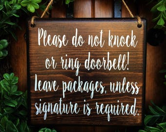 Do Not Disturb Sign   7x8   No Soliciting   Sleeping Baby Sign   Baby Sleeping Sign   Do Not Ring Doorbell Sign   Leave packages sign