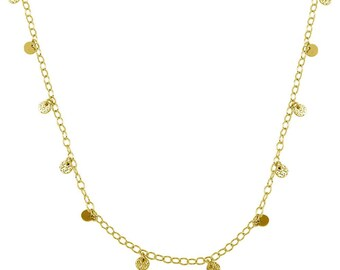 Sterling Silver Gold Plated Confetti Disc Necklace -