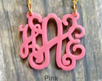Monogram Necklace - Vine Monogram 3 Initial Name Acrylic Monogram Jewelry - Pink Necklace