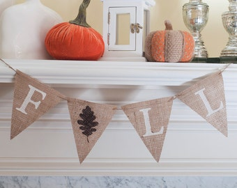 Fall Burlap Banner, Autumn Banner, Fall Decor, Fall Photo Prop, B091