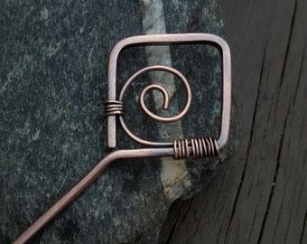 Copper Hair Pin, Copper Hair Stick, Hair Accessories, Copper Hair Accessory, Antiqued Copper, Hair Pin, Hair Stick, Shawl Pin,  Wire Wrapped