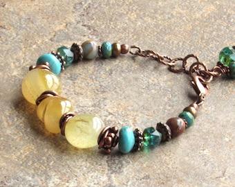 Cleopatra Honey Calcite Aqua and Copper Bracelet