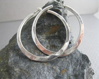 Sterling Hammered Hoops, Handcrafted Sterling Silver Jewelry, Hammered Sterling Silver Hoops in Various Sizes