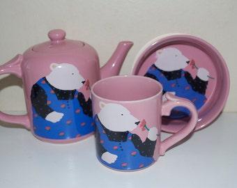 Paris Bottman Design Pink with White Bear Teapot Mug Cup & Bowl 1988
