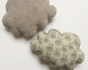 Soft Musical cloud cushion or Simple plush grey and grey rabbit - music box - a star in my cabin