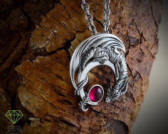 Silver Dragon Pendant with stone,  Drogo Men pendant, Moon Dragon Necklace, Games of Thrones, Gothic jewelry, Mens Jewelry
