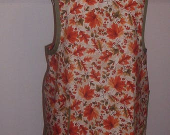 Medium,Retro Style Womens Apron, Fall Leaf Print