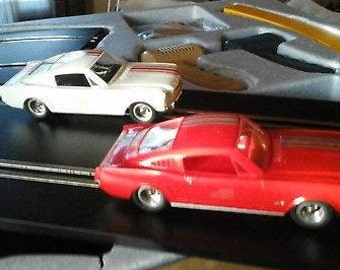 Vintage Aurora American Classics 1:32 Scale Road Race Set Featuring Two Mustang Fastback A-Jets