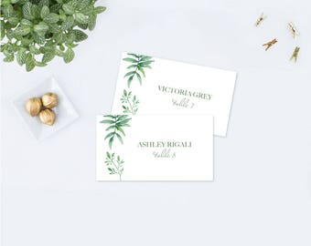 Editable Text Greenery Place Card Template, Greenery Wedding, Escort Cards, Printable Template Editable Place Cards, DIY Place Cards, Leaf