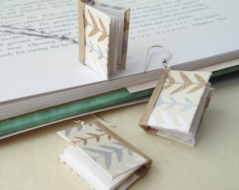 Mini Book Jewelry Set- Petite Vines Book Earrings and Pendant Jewelry Set- silver