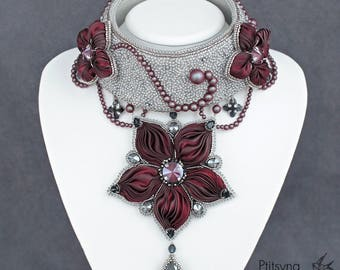 Bead embroidery necklace, shibori ribbon necklace with flowers and swarovski, Shibori ribbon jewelry, bead embroidery shibori jewelry