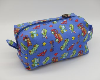Truck Travel Pouch, Boys Ditty Bag, Firetruck Bag, Cars & Trucks Toiletry Kit, Train Case,  Gifts Under 20, Dopp Kit, Go Bag, Gifts for Him
