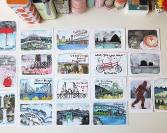 Portland Postcards - Portland Illustrated Postcards - Set Of Portland Postcards - Portland Oregon - Portland - Set of 19 Portland Postcards