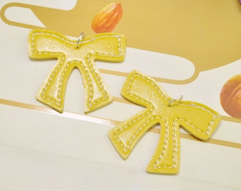 Yellow Bow Pendant,Bow Charm,Bow With Silver/Gold/Bronze Jumpring Pendant,Keychain/Earring/Nacklace Charm 55x46mm