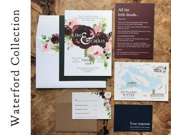Watercolour Rustic Invitation ~ Festive Autumnal Fall Wedding Invite UK