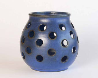 Jan and Helga Grove Pottery Candle Holder in Cobalt Blue / Vancouver Island British Columbia Art / Made in Canada