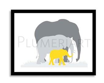 Kids Nursery We are Family print- Custom color available - Custom animals- Elephant- Giraffe- Cat- Horse you choose colors.