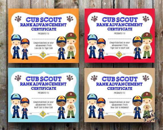 Cub Scout Rank Advancement Certificate Pack 8.5x11 JPG