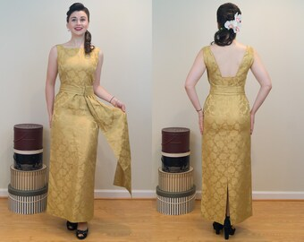 1950s Vintage Dress - Handmade in Guam - Gold damask w/ Obi belt