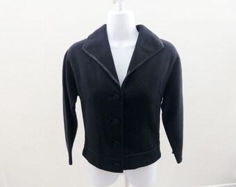Vintage 50s Sweater Jacket Size S Black Bolero Cardigan 34 Chest Vtg 60s Mod