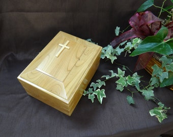 Cremation Urn with Raised Panel and Applique on Top - Urn for Human Cremation Ashes for Funeral, Memorial or Celebration of Life