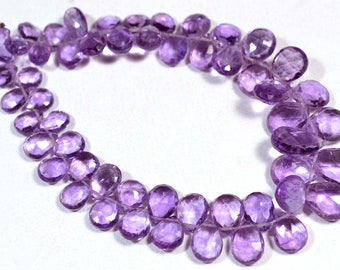 8 Inches Natural Amethyst Beads 5x7.5mm to 8x13mm Pear Beads Faceted Gemstone Beads Amethyst Briolettes Semi Precious Stone No553