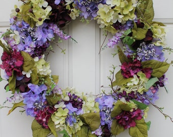Purple, Green Hydrangea Wreath Spring Summer Wreath