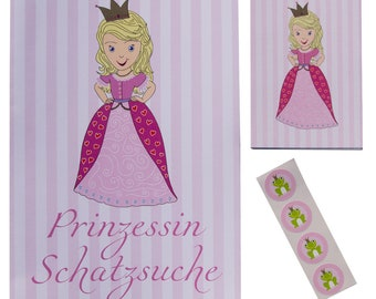 Treasure hunt for the children's birthday motto Princess/Scavenger hunting complete set with 6 Princess diplomas treasure map and stickers