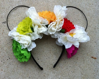 Multi Color Floral Wire Mouse Ears, Mickey Ears, Minnie Ears