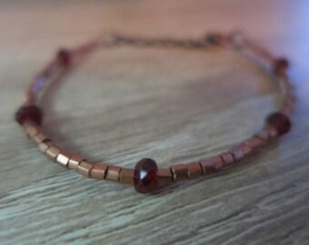 Copper and garnet beaded bracelet