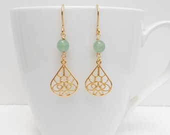 Summer SALE - Green aventurine earrings, Filigree gold earrings
